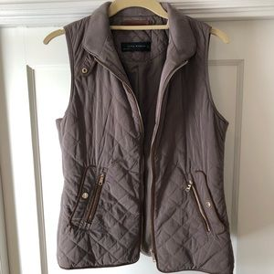 Zara Woman Olive Green Quilted Vest